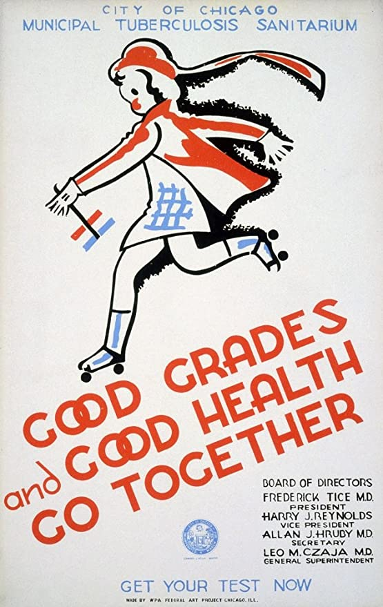 illustrative poster of a skipping child with the text good grades and good health go together