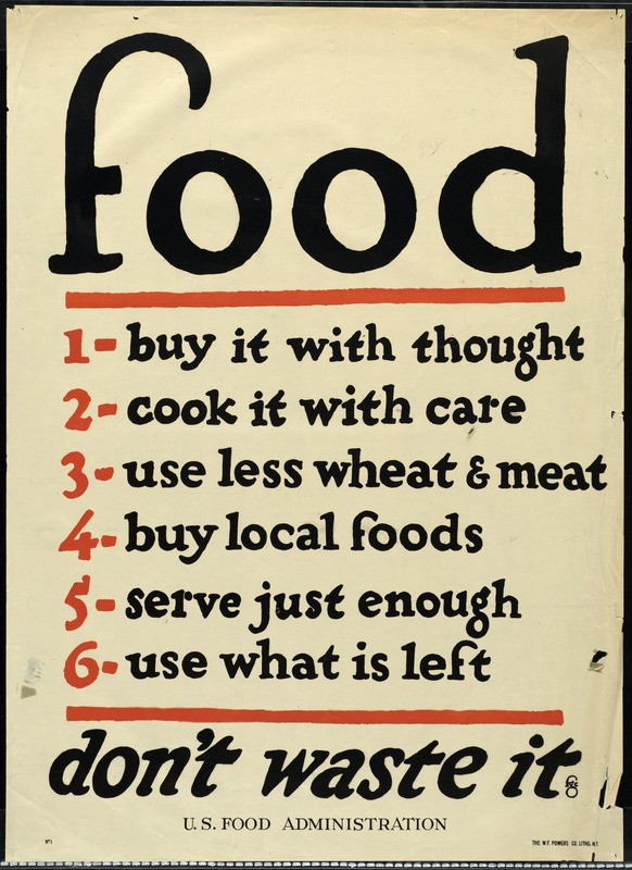 type-based poster with instructions on how not to waste food