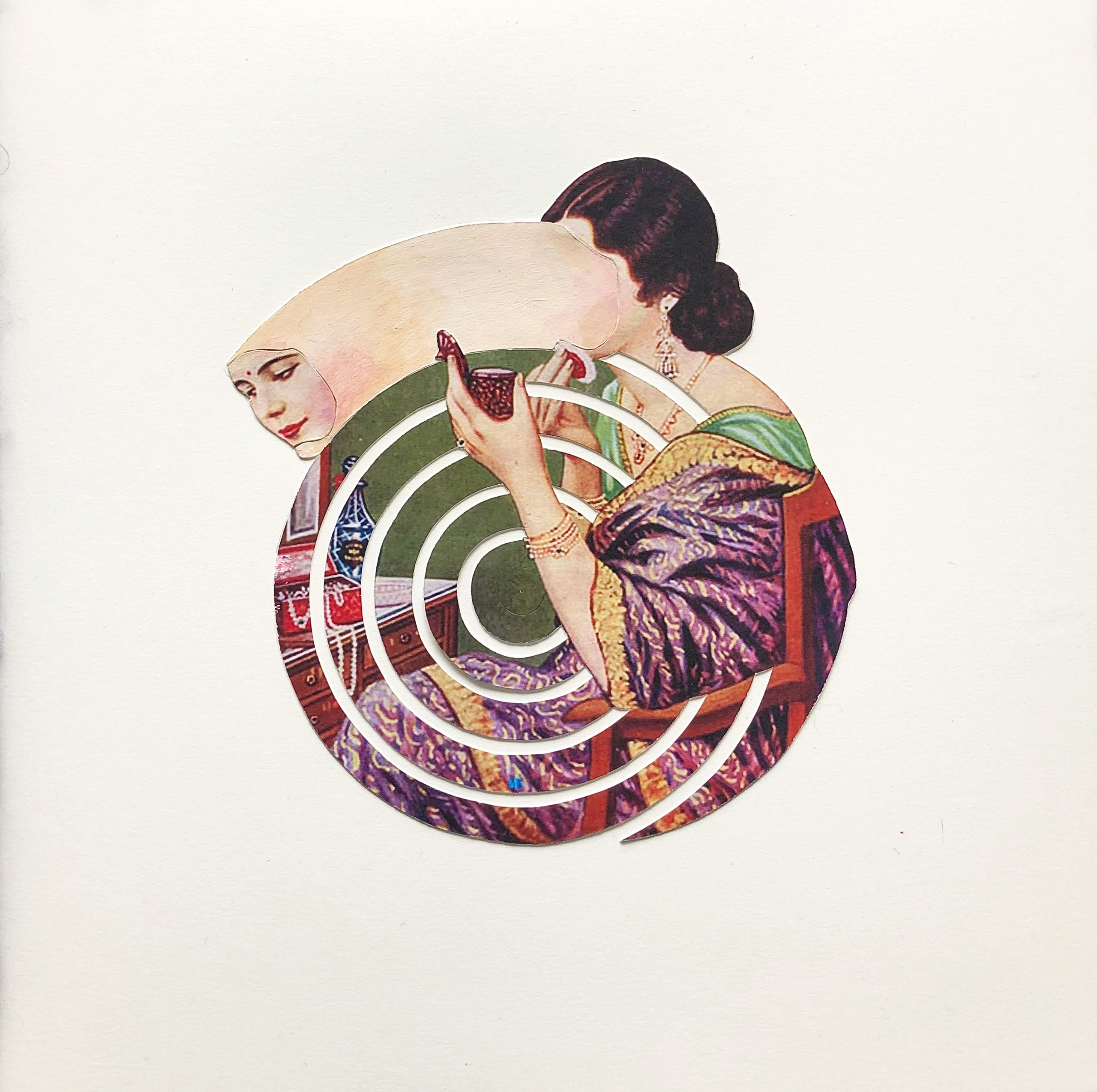 distorted illustration of an Indian woman applying makeup with a handheld mirror