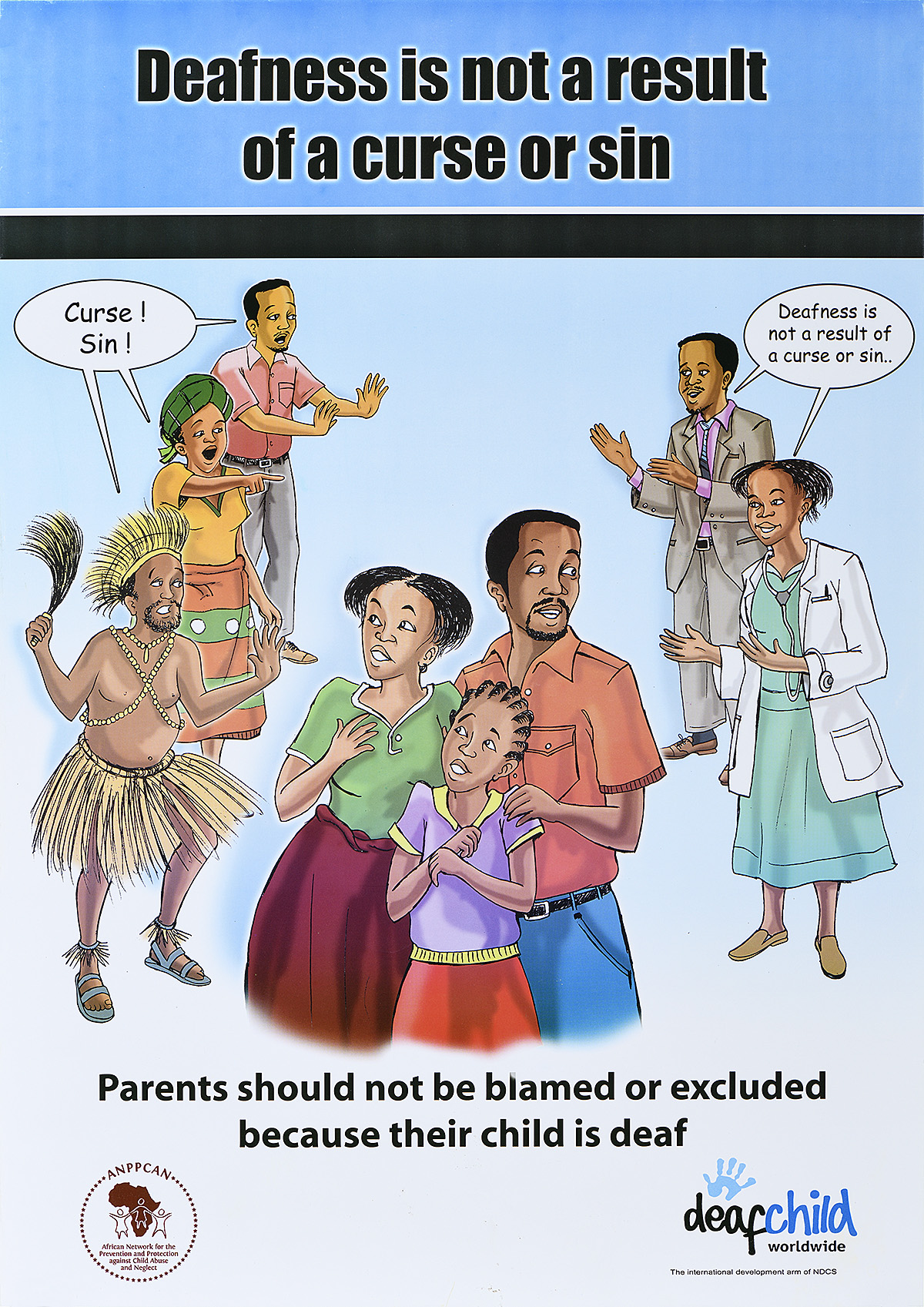 illustrative PSA poster of people expressing different views along with the text deafness is not a result of a curse or sin