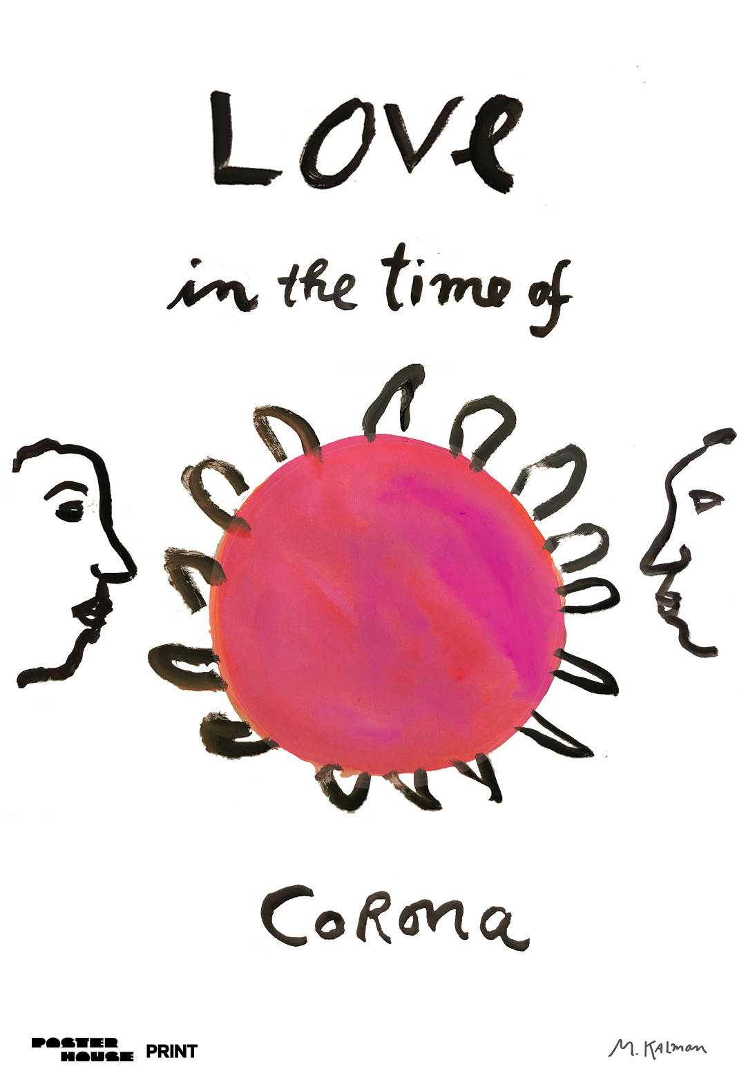 illustrative poster of two people facing coronavirus with the words love in the time of corona