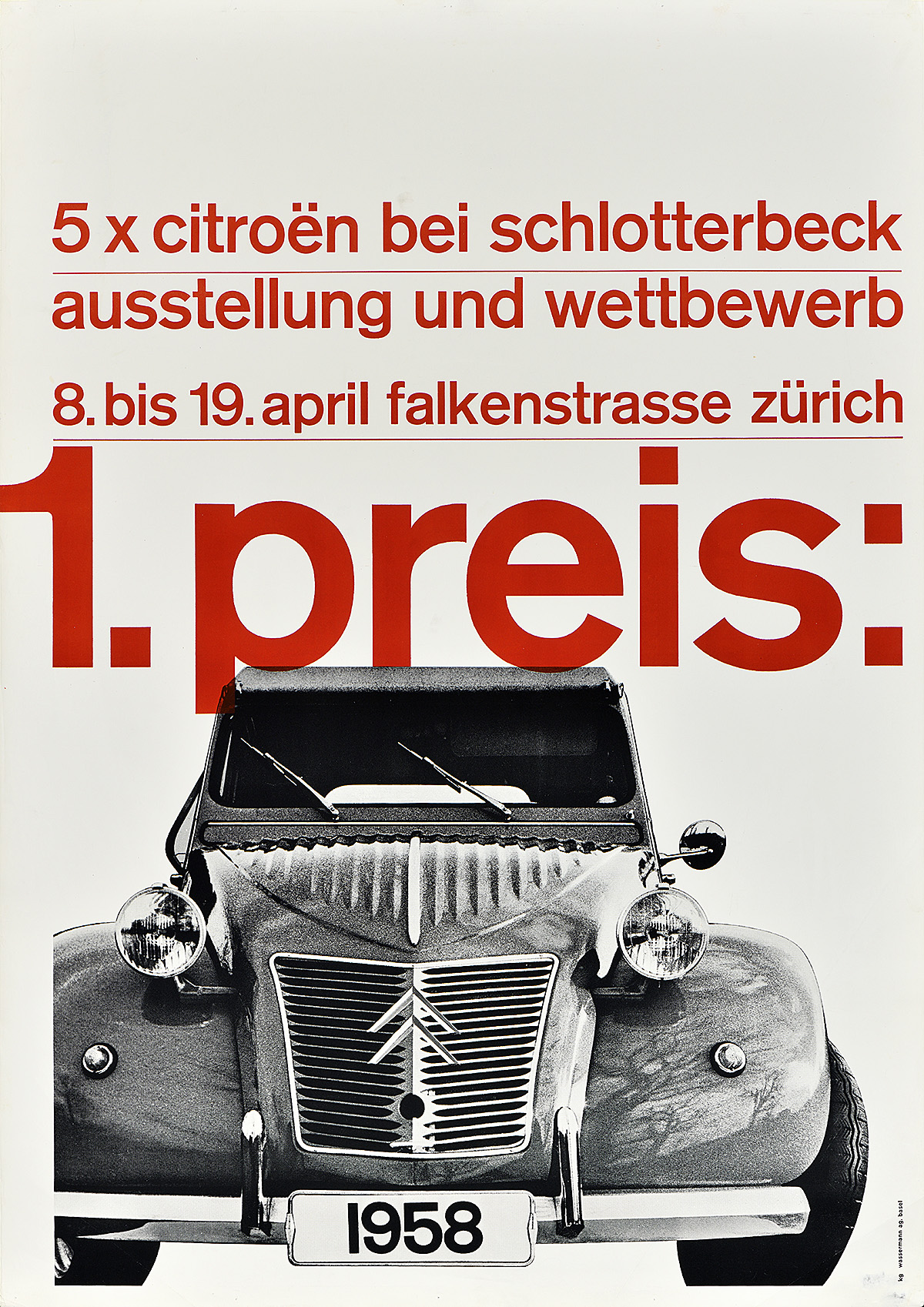 poster of a black and white image of a car and red text on a white background