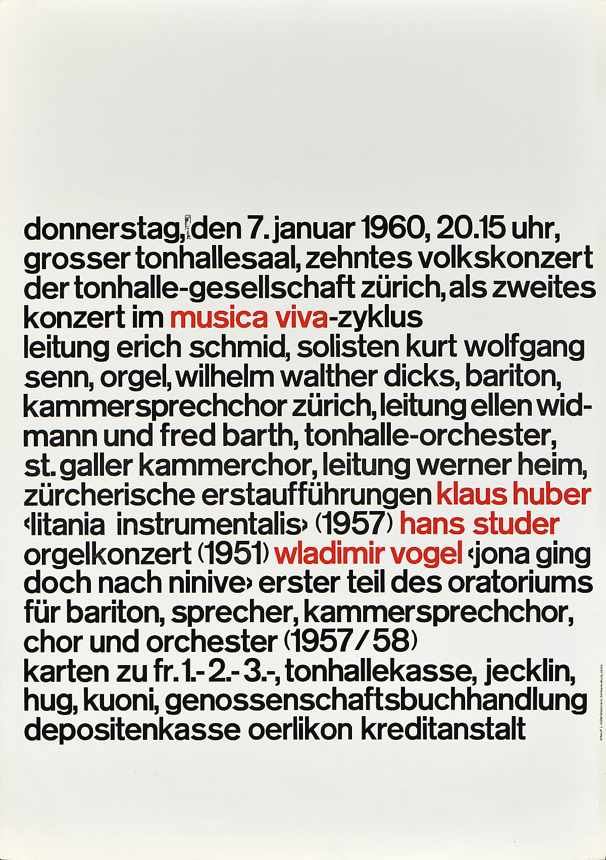 type-based poster for a music festival listing performers in black and red text in a paragraph format