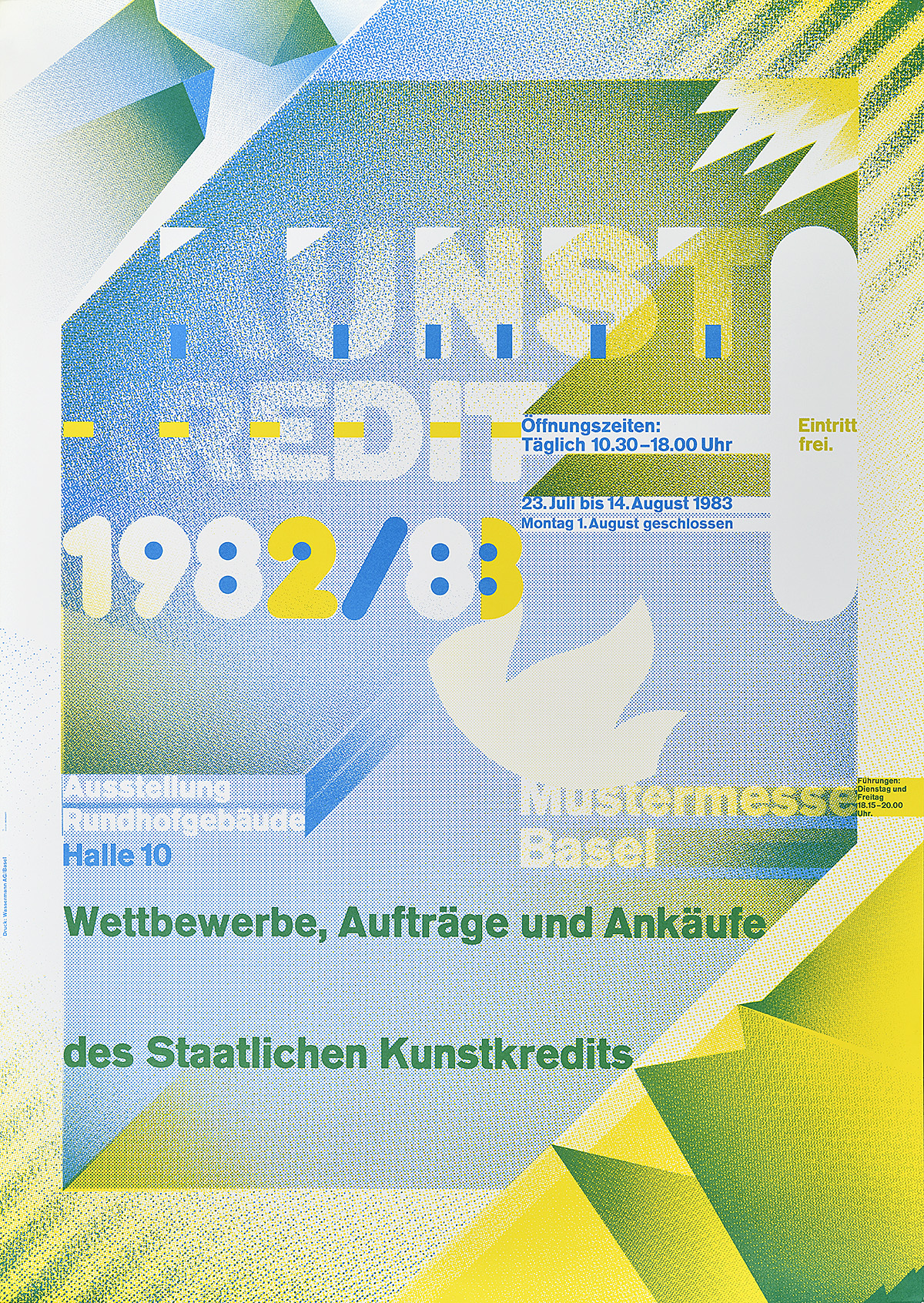 type-based poster with a color gradient of green and blue