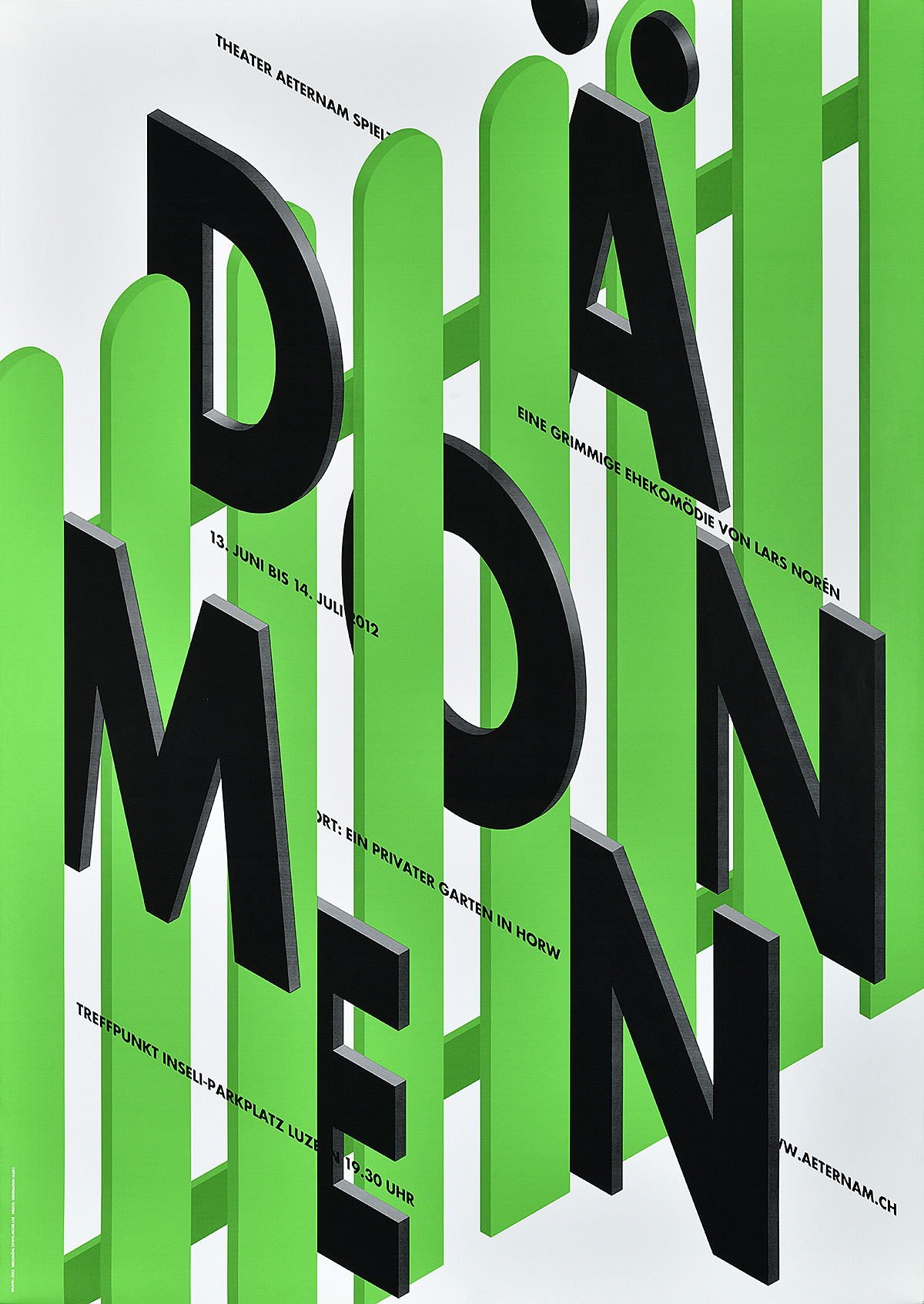 type-based poster of the word Dämonen in black sliding through a green fence