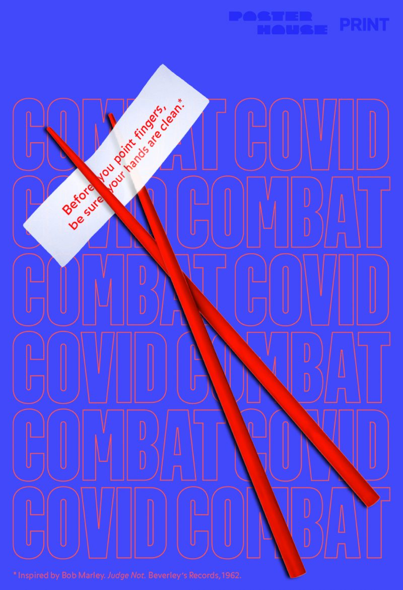 illustrative poster of a pair of red chopsticks on a blue background holding a note that says before you point fingers be sure your hands are clean