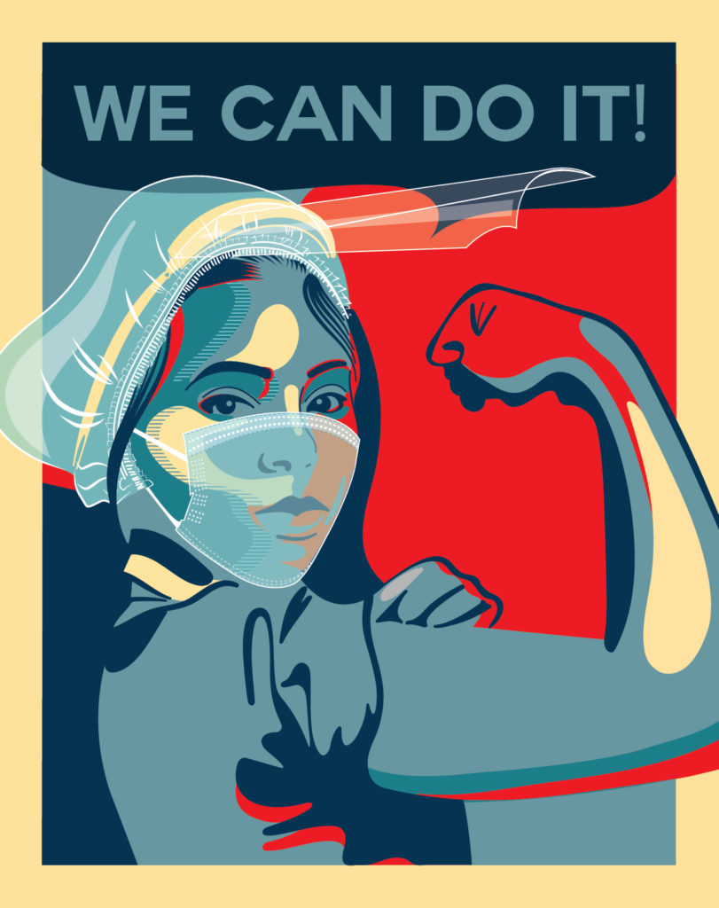 illustrative PSA poster of a woman wearing a mask and hair net and flexing her bicep with the text we can do it