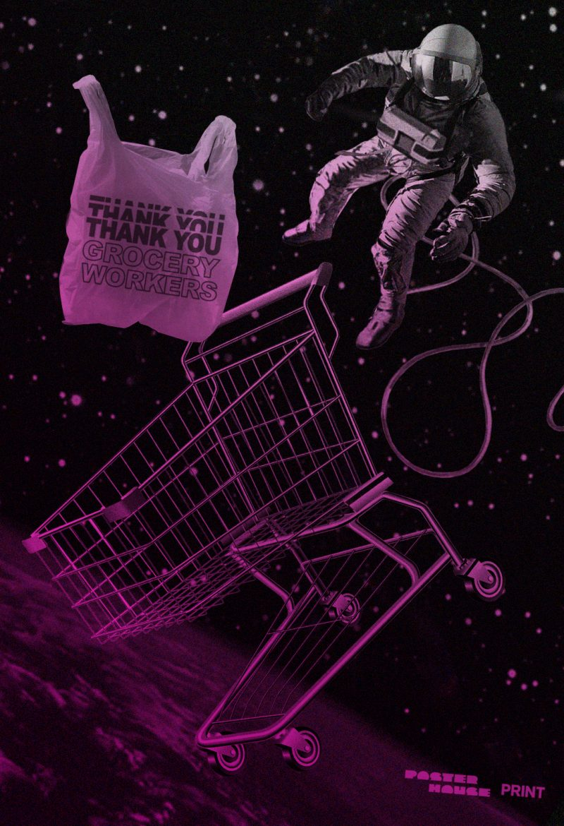 photomontage poster of a shopping cart shopping bag and astronaut floating in space