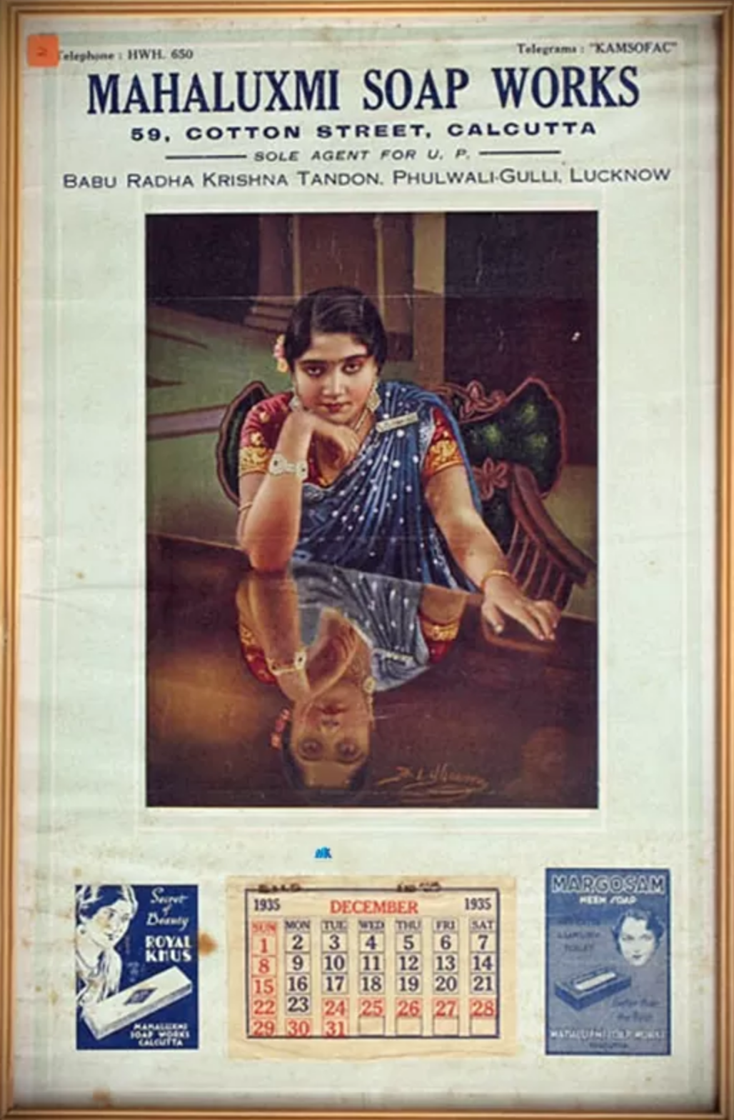 photograph of an advertisement for soap with a photograph of an Indian woman sitting at a table