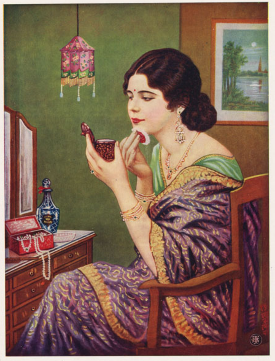 illustration of an Indian woman applying makeup with a handheld mirror at a vanity