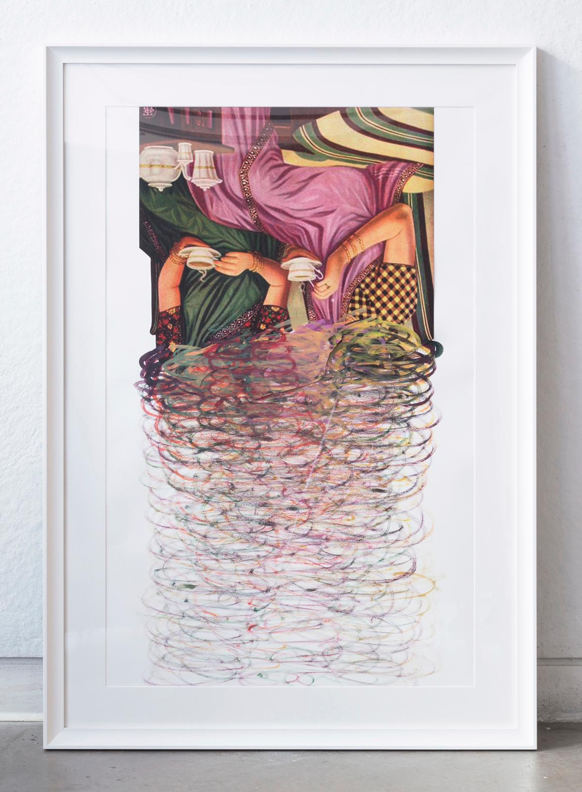 photograph of an upside down painting of two women sitting and having tea