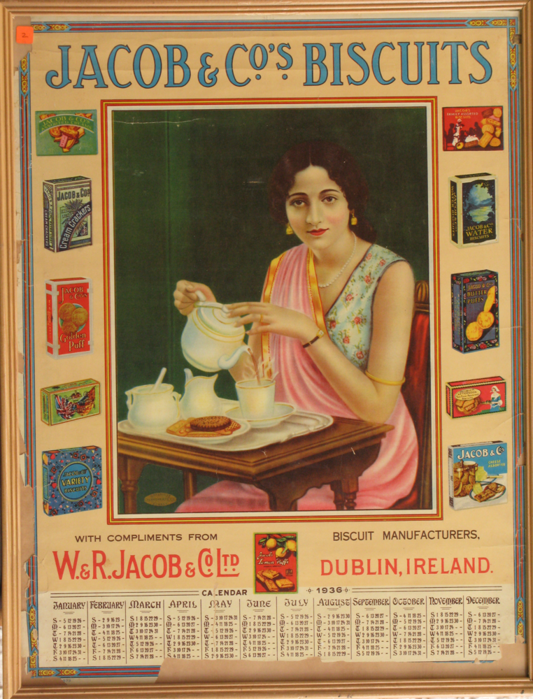 illustrational poster advertising biscuits with an image of an Indian woman pouring herself tea