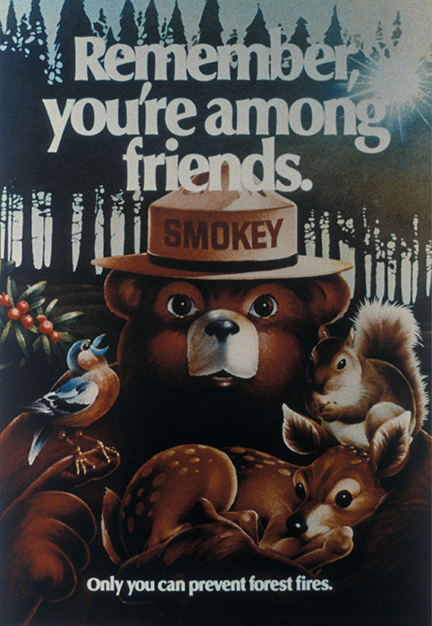 illustrative PSA poster of a bear holding various animals in its arms