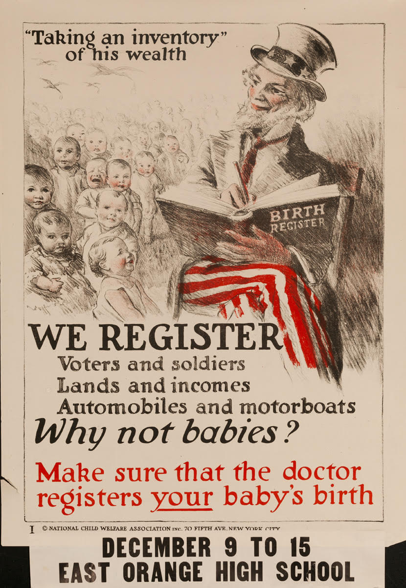 illustrative poster of uncle sam writing in a birth registry book surrounded by babies