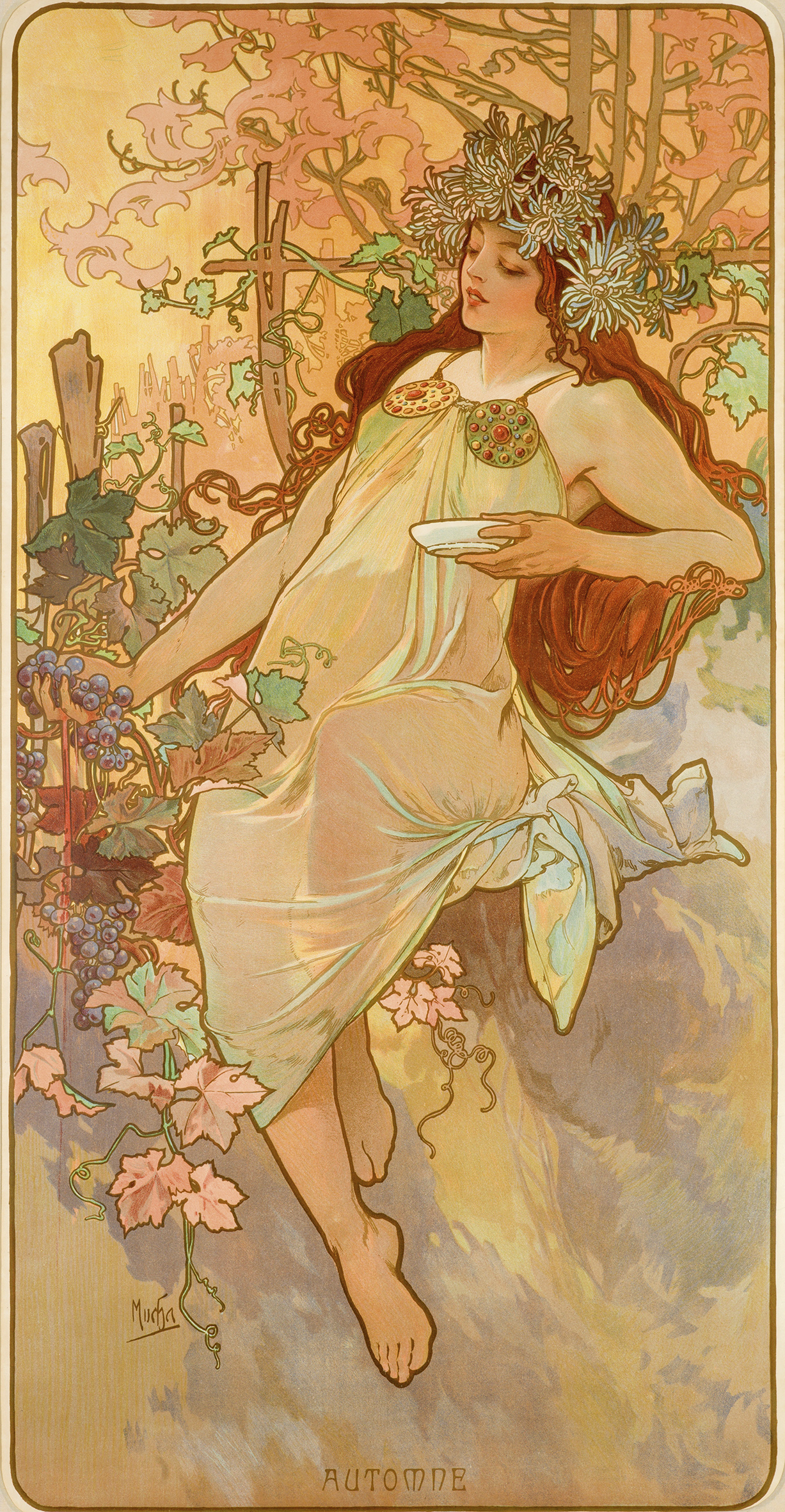 illustrational poster of a woman holding a dish sitting amongst flowers