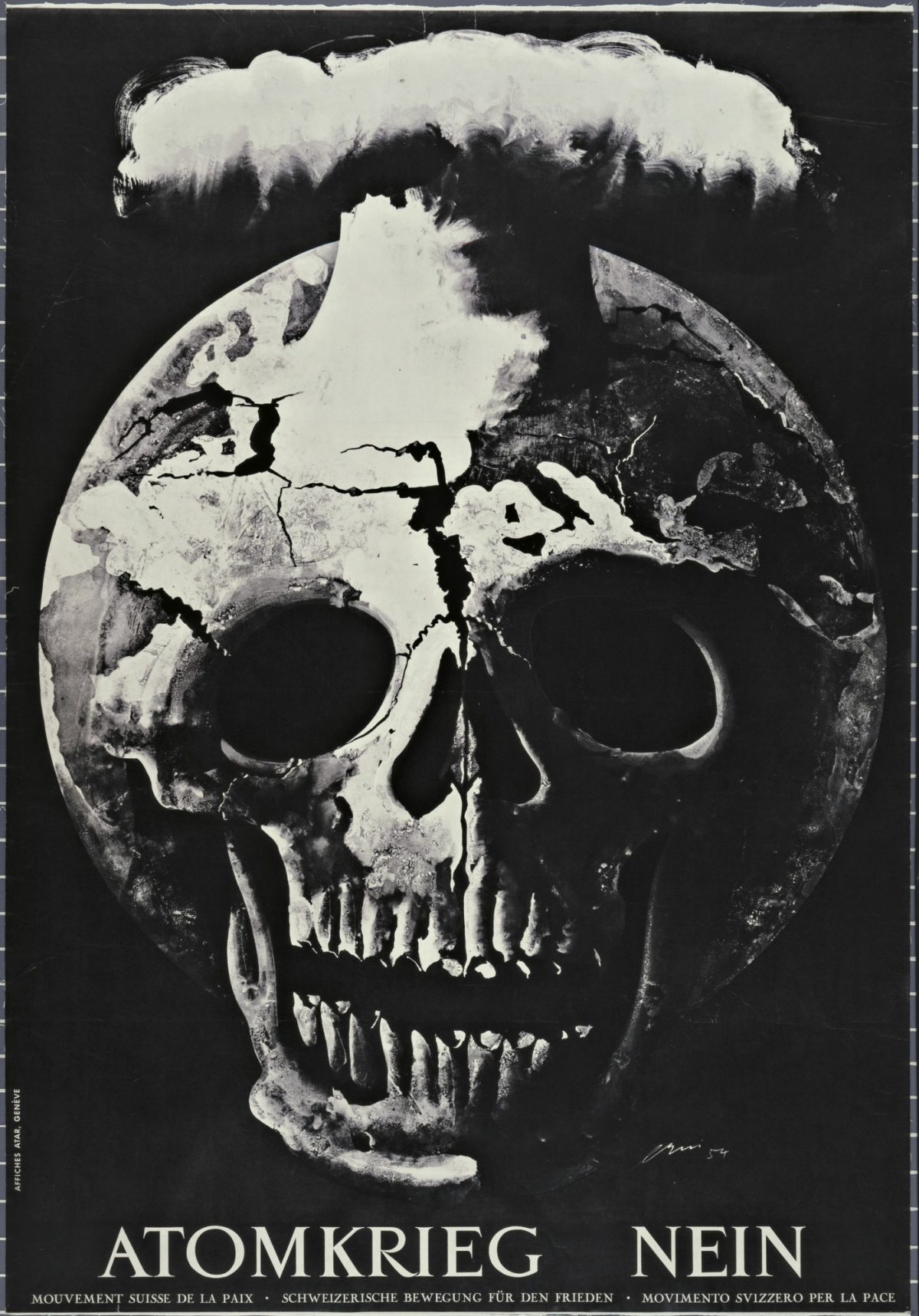 black and white image of a burst skull blowing out gas