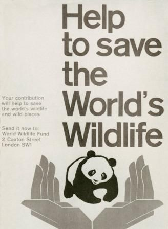 poster of hands holding a panda bear with type asking to help save the world's wildlife