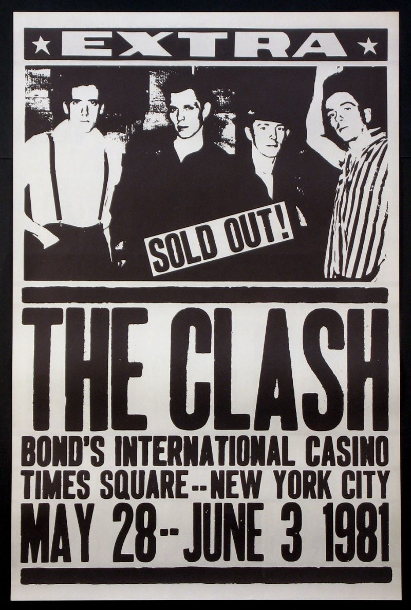 Type-based poster with an image of the band The Clash.