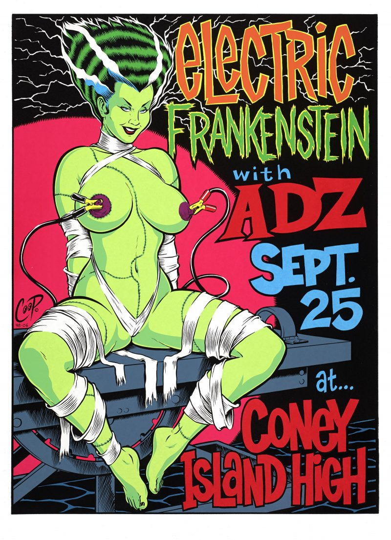 Illustrational poster of a nude female Frankenstein promoting an event