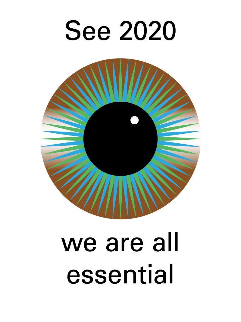 Illustrative poster of an eye. Black text against a white background:
