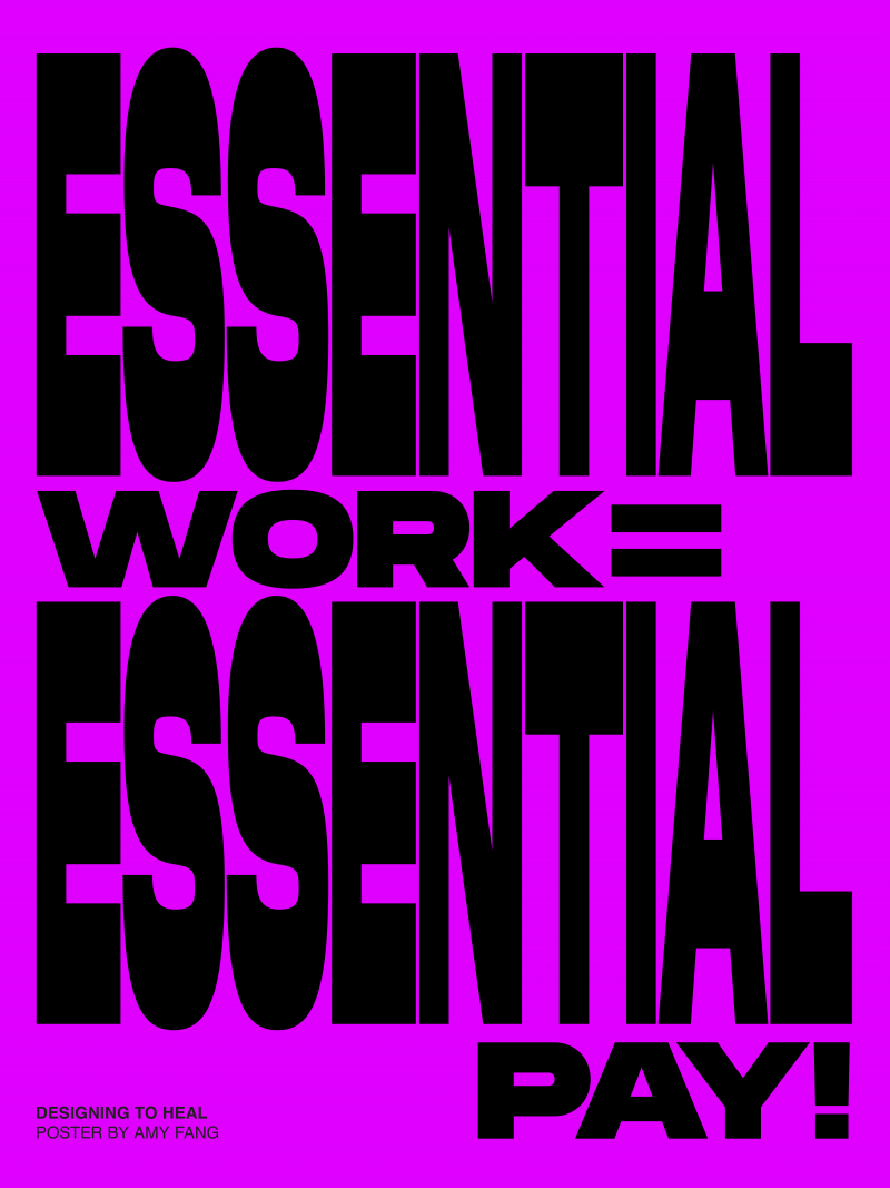 type-based poster of horizontal black text saying essential work equals essential pay against a purple background