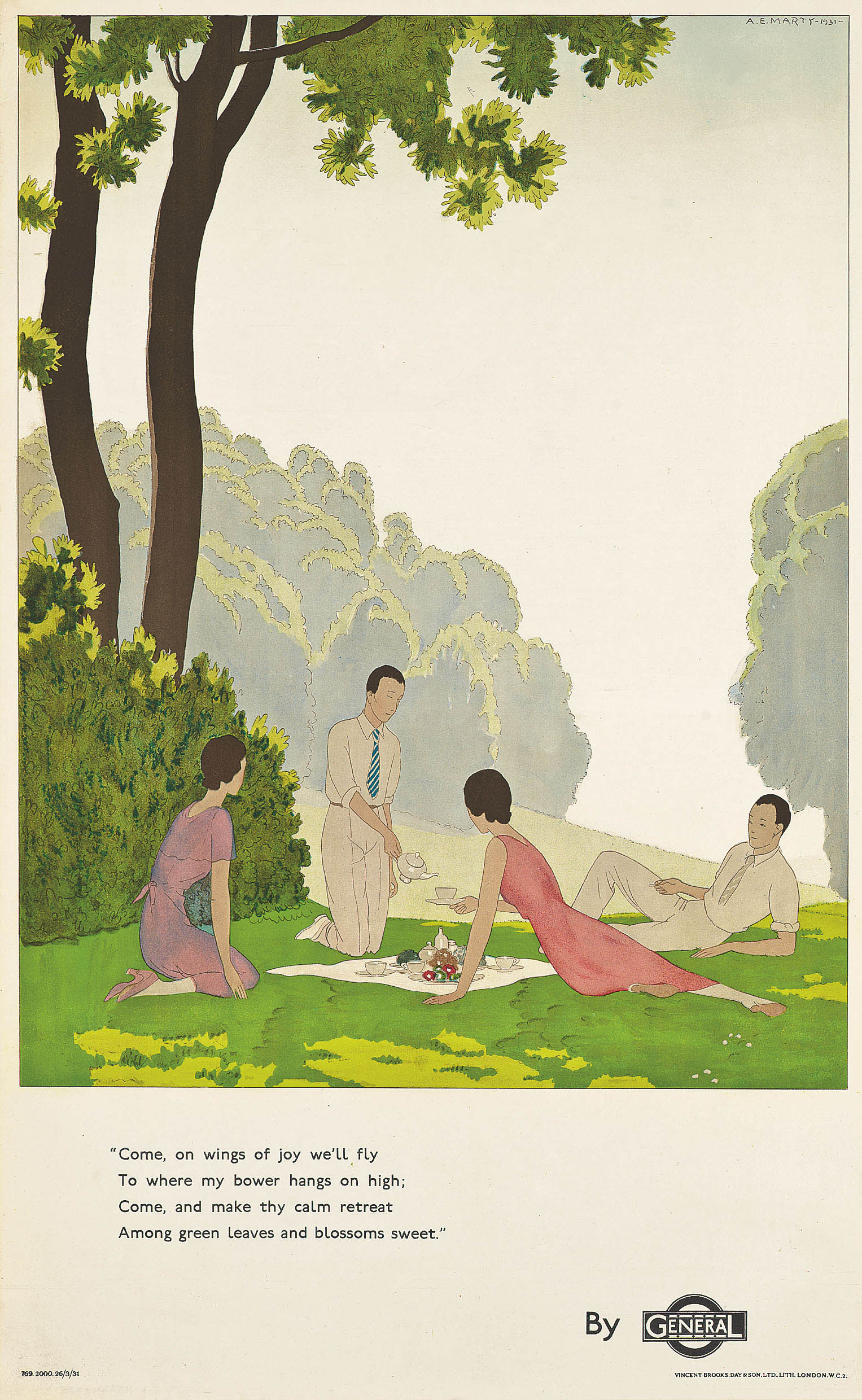 illustrational poster of friends having a picnic in the lush outdoors