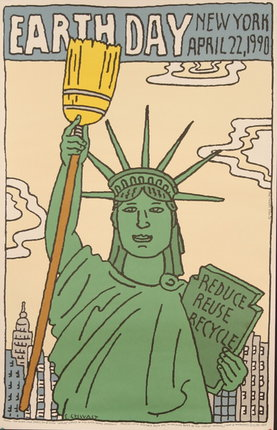 illustrational poster of the statue of liberty holding up a broom