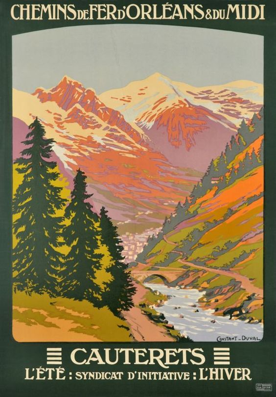 illustrational poster of a lake and mountainside