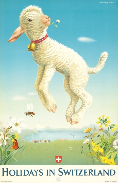 illustrational poster of a lamb leaping into air