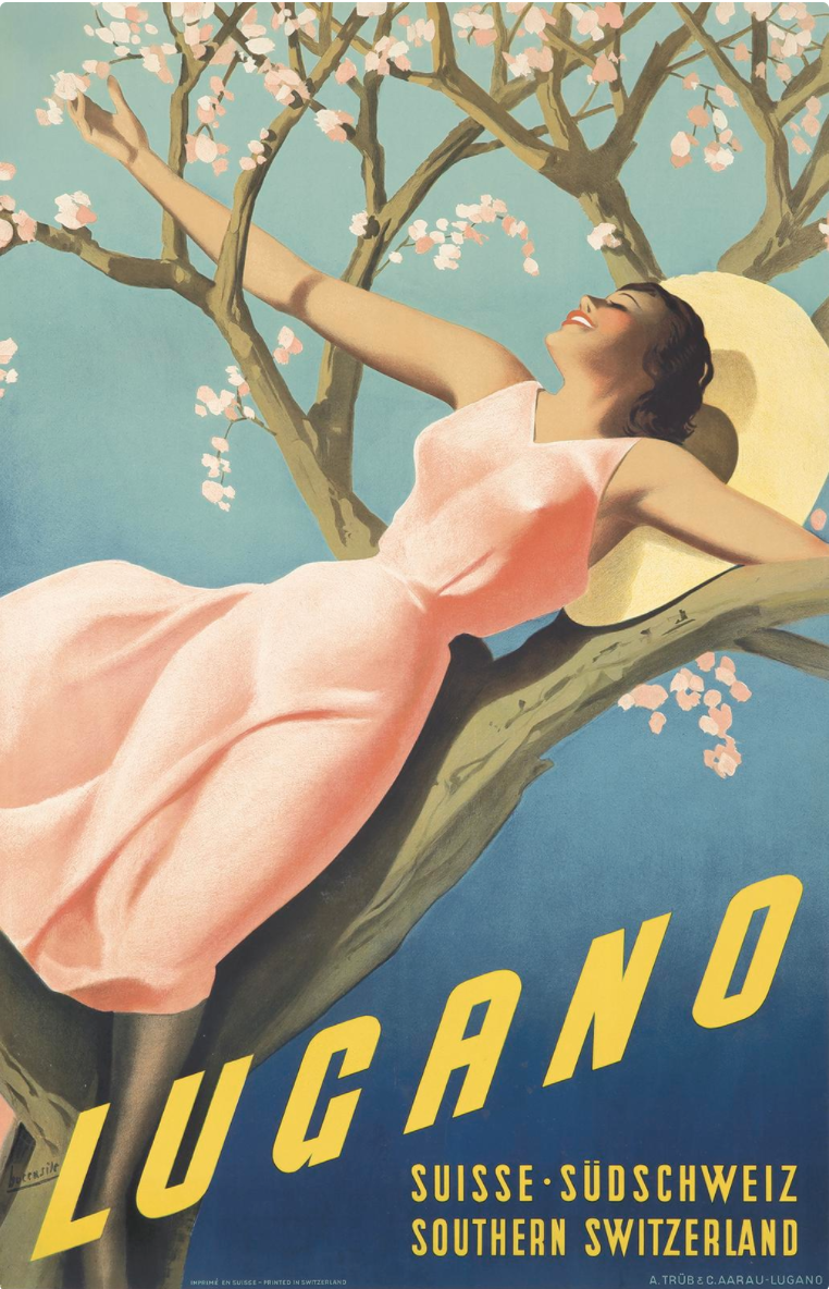 illustrational poster of a woman lounging against a tree branch with her arms wide open