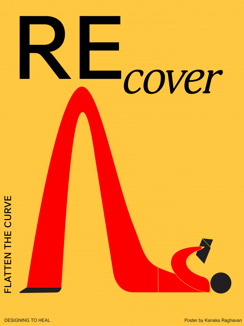 Illustrational PSA poster of a red figurine laying on the floor reading and its bent legs create a curve.