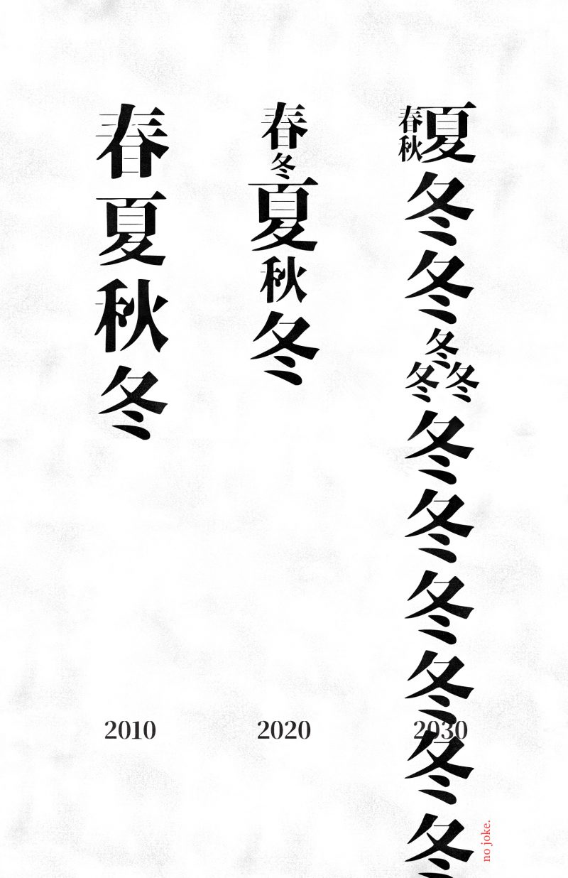 A type-based poster with three columns of black Chinese text on a white background. Each column is labeled 2010, 2020, or 2030.