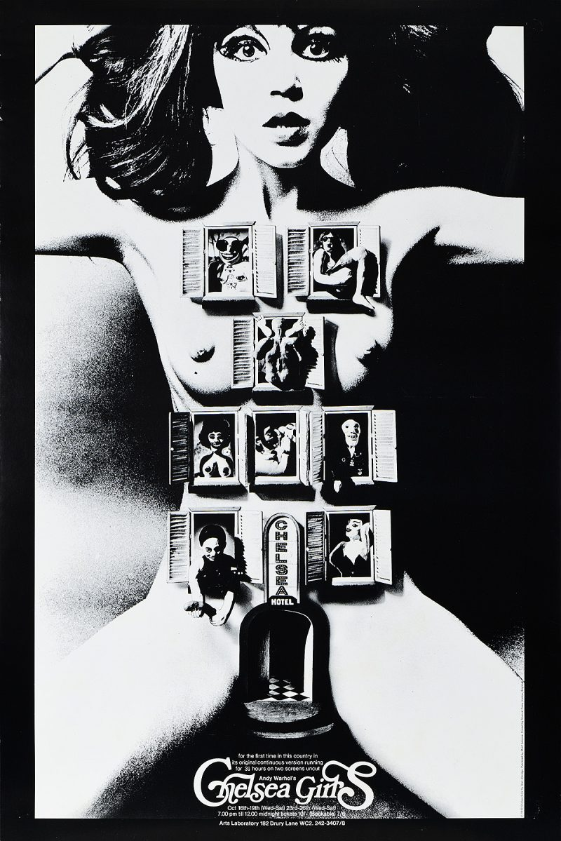 Poster with image of doors and windows placed on a nude woman's body.