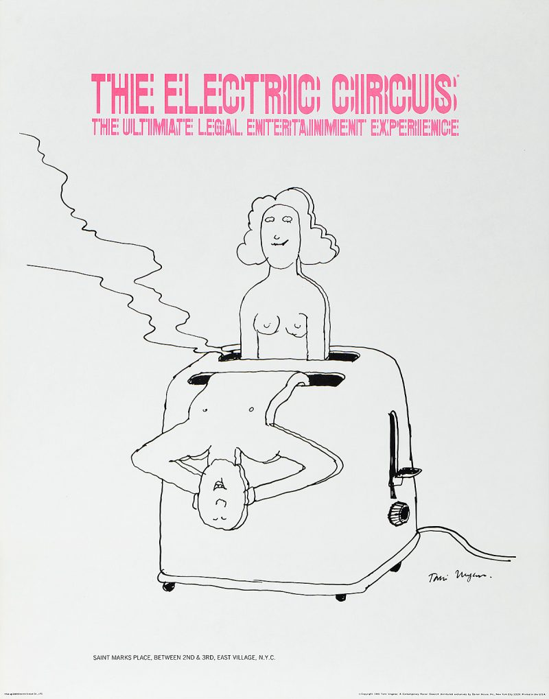 Illustrational poster of man and women popping out of a toaster.