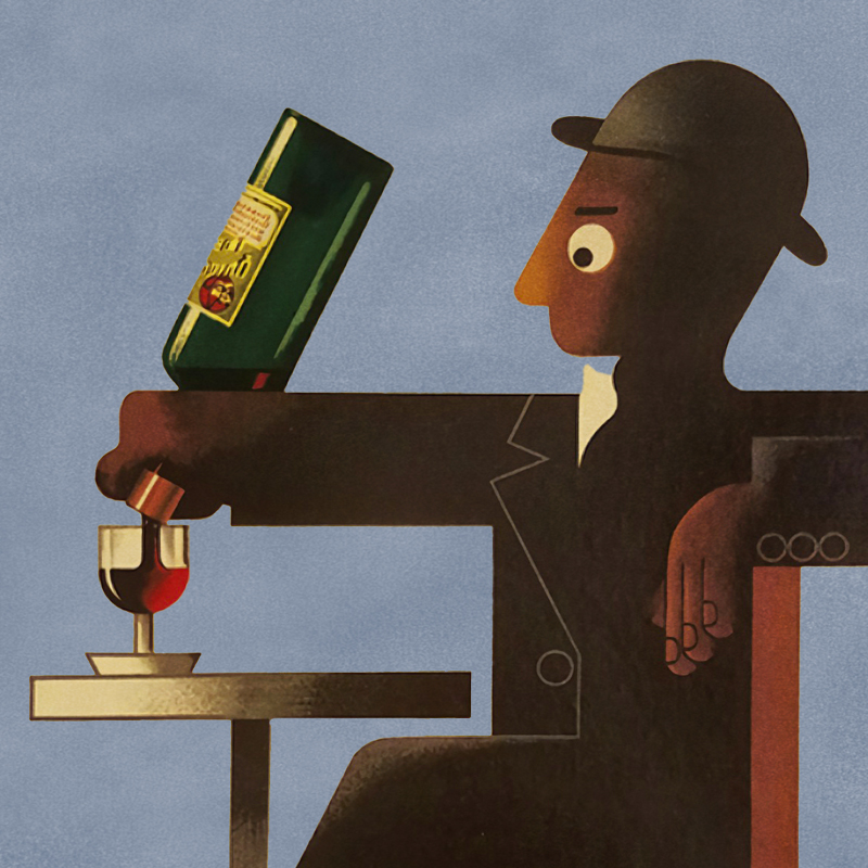 Illustrative poster of a figurine man pouring himself a glass of Dubonnet from the bottle.