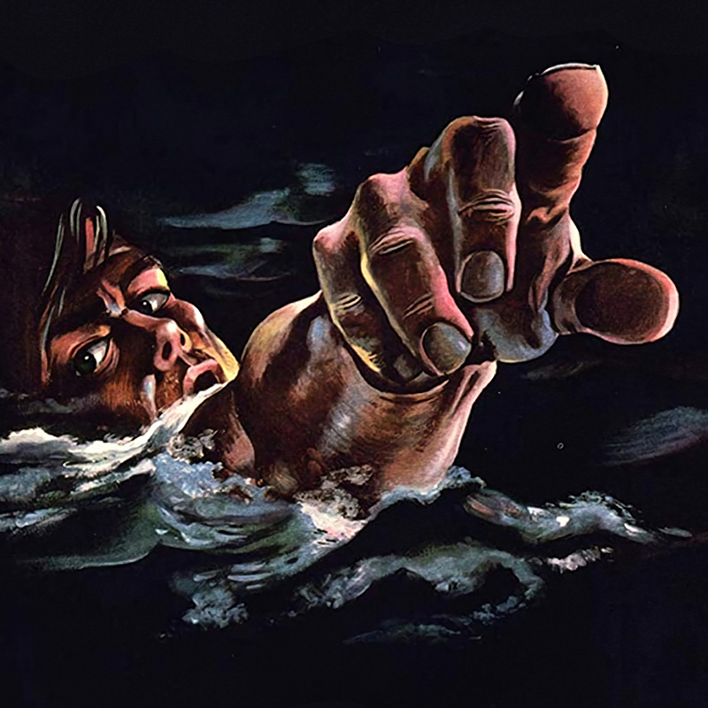 illustrative poster of a person surfacing from water and pointing a finger at the viewer