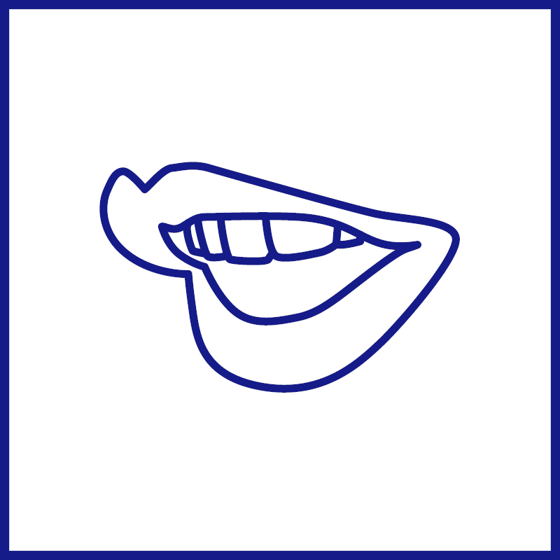 Side perspective of a blue outlined mouth in mid speech against a white background within a blue border.