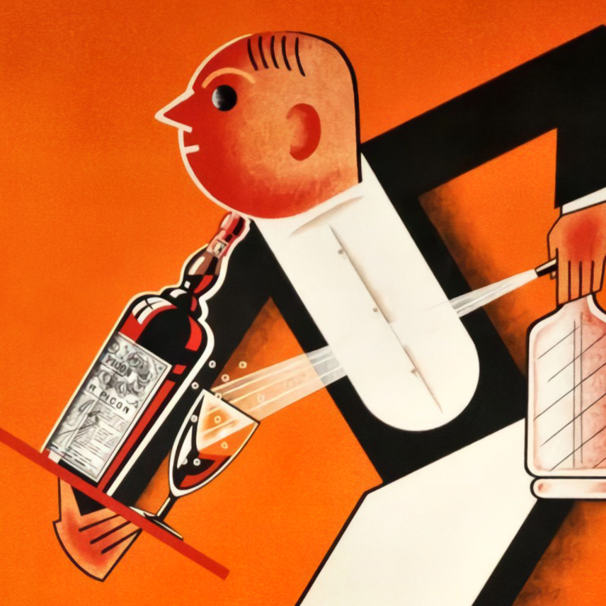 An Art Deco poster with a waiter figurine spraying soda water into a cocktail glass while a holding a tray with a bottle of Picon.