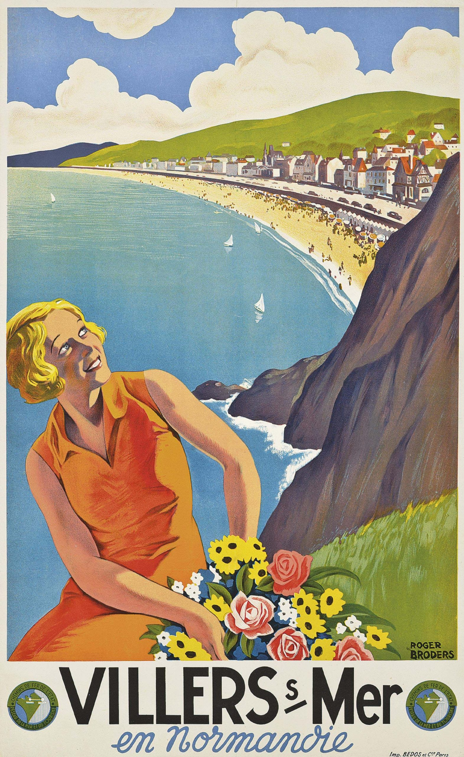 illustrational poster of a woman sitting on a hillside amongst flowers