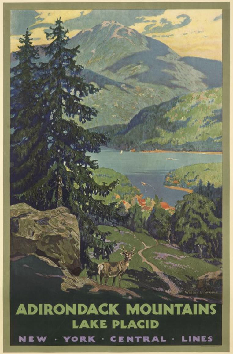 illustrational poster of lush mountains and a lake