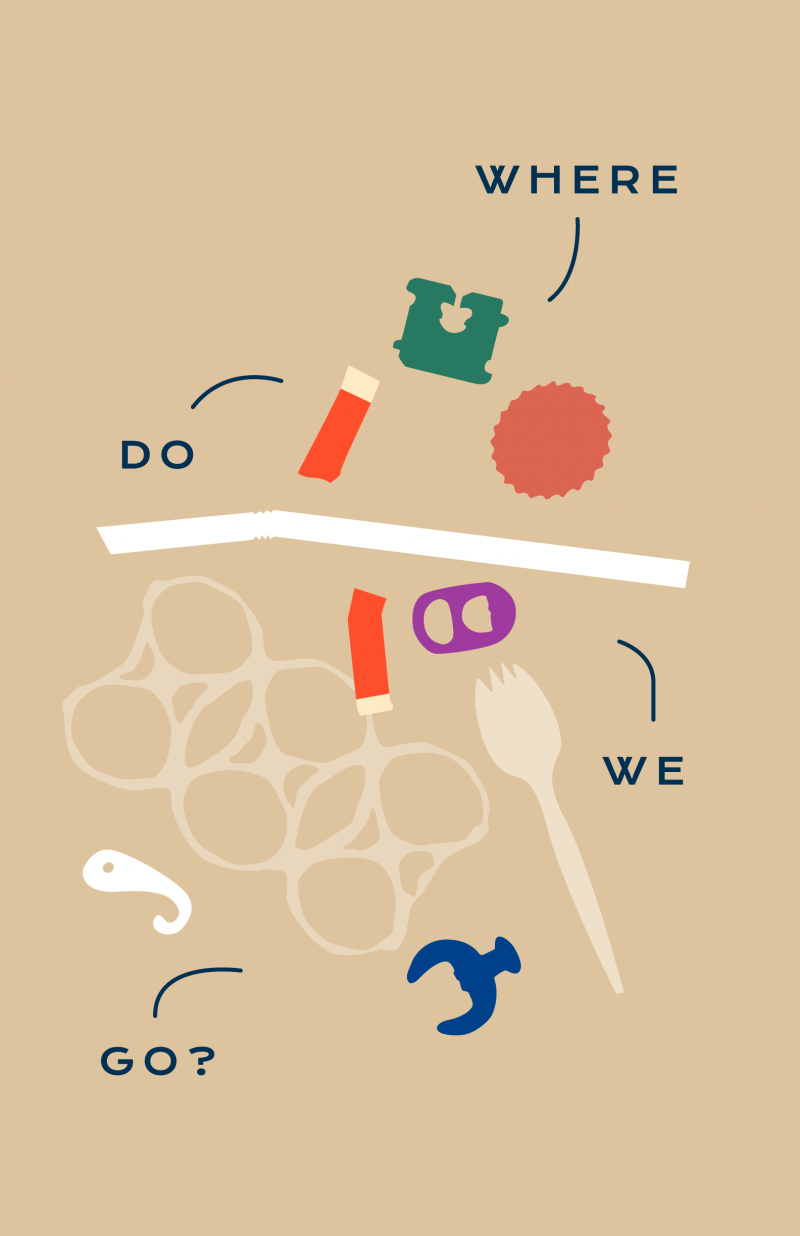 An illustrative poster of plastic utensils, bottle caps, and pieces in different colors. The plastic pieces are labeled,