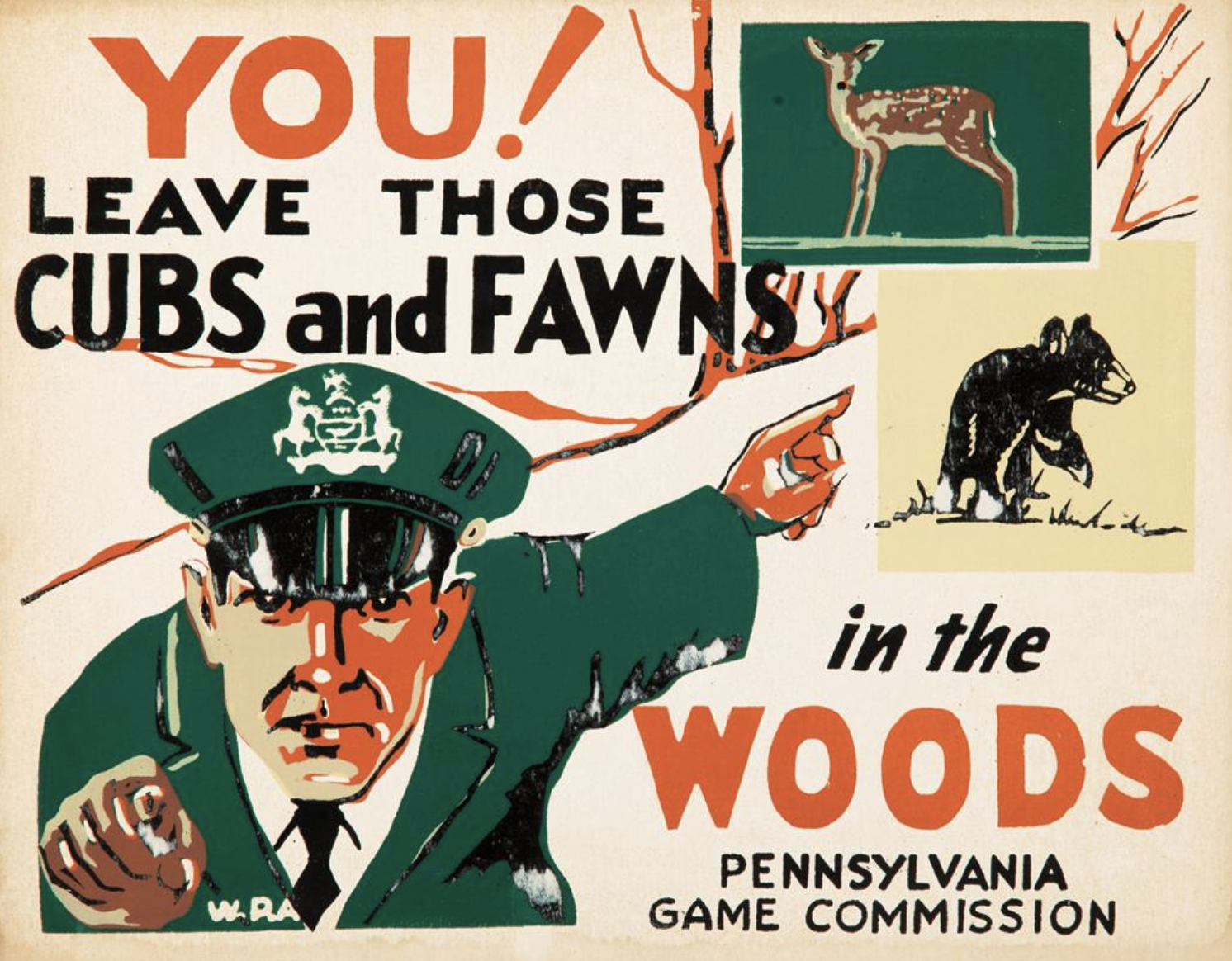 illustrational poster of an officer pointing at illustrations of cubs and fawns