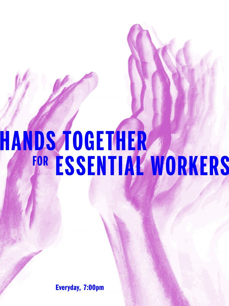 poster with the text hands together for essential workers everyday at seven over an image of clapping hands