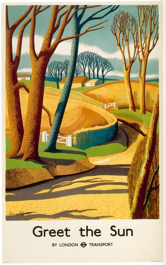 illustrational poster of a walk path through trees and hay
