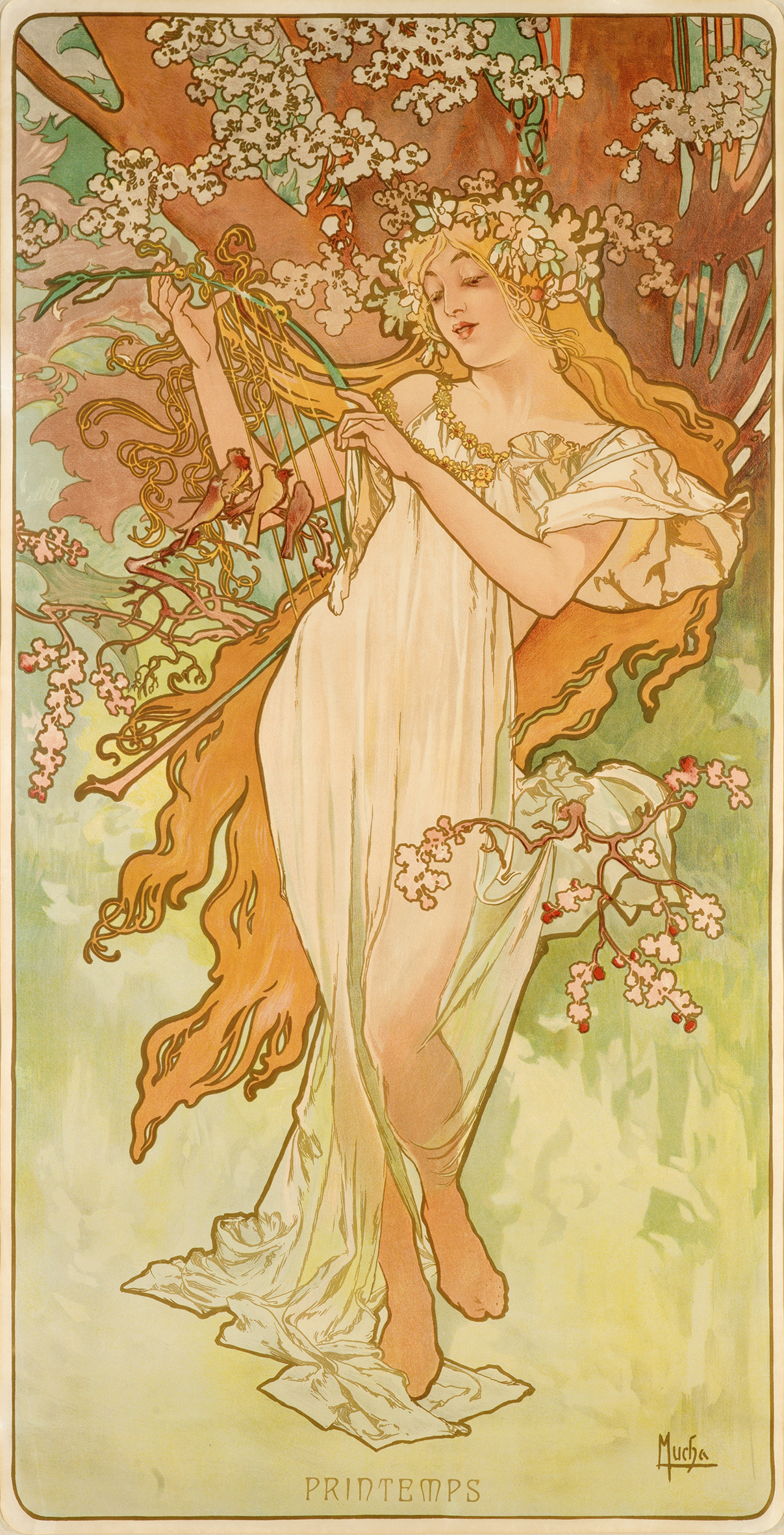 illustrational poster of a woman playing a harp and dancing amongst flowers