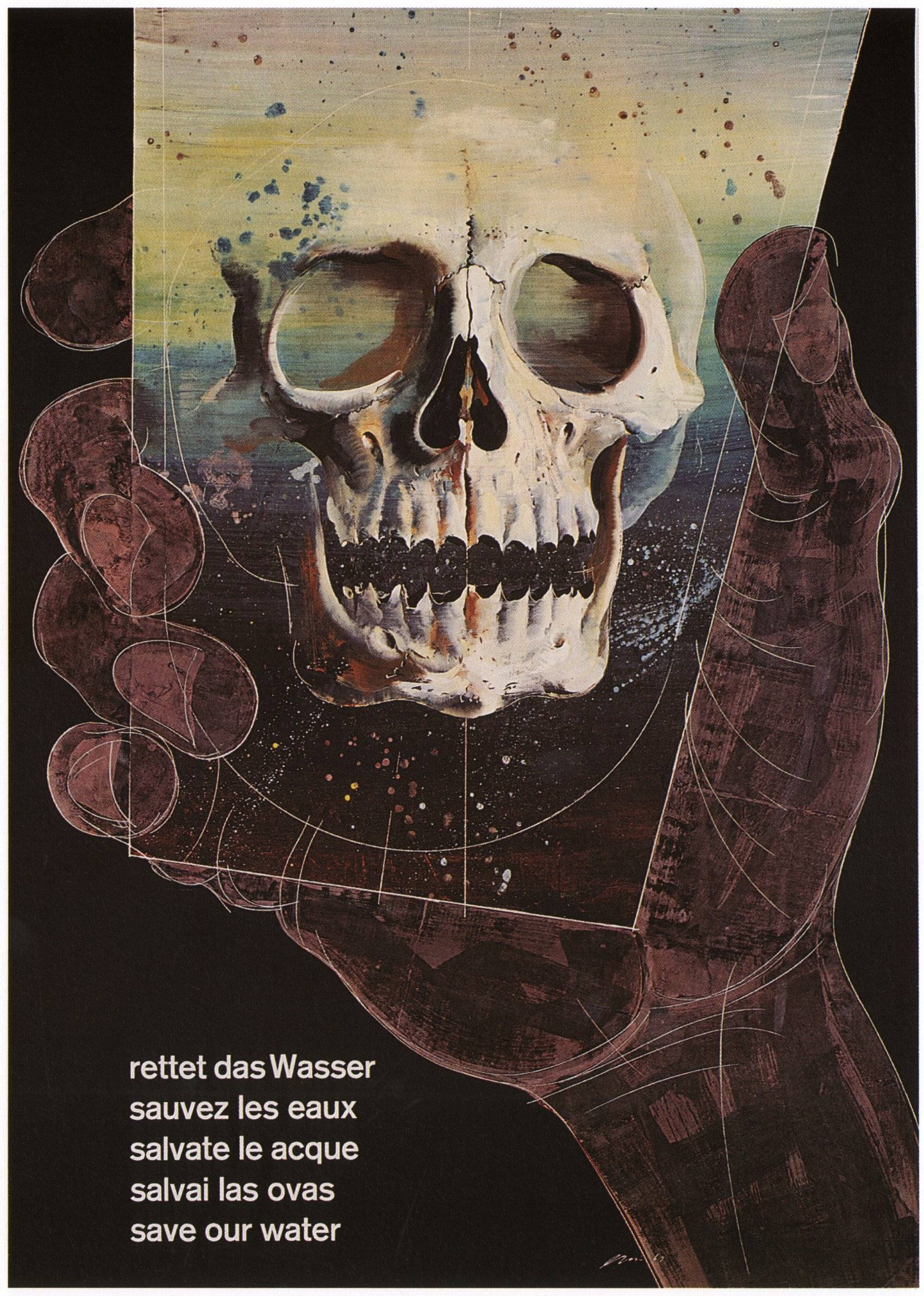 illustrational poster of a hand holding up the image of a skull