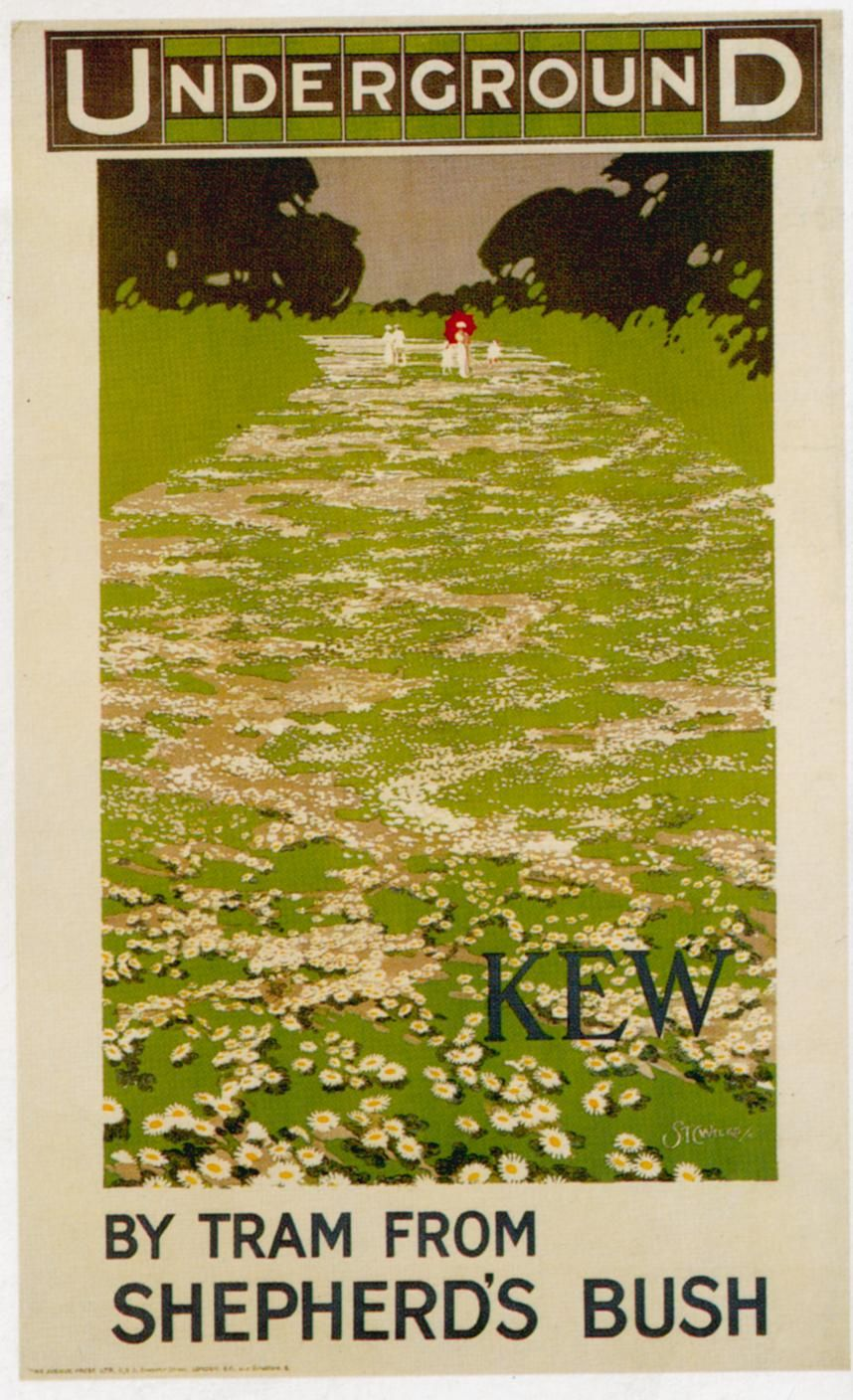 illustrational poster of two people walking a flowered path