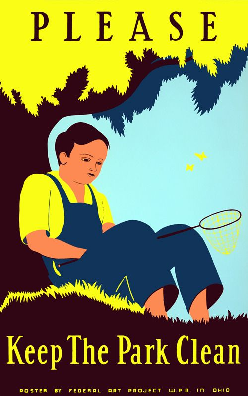 illustrational poster of a boy sitting under a tree holding a butterfly catcher