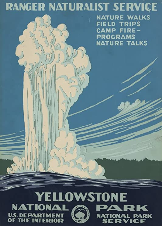 illustrational poster for Yellowstone National Park of a lake and water bursting into the air