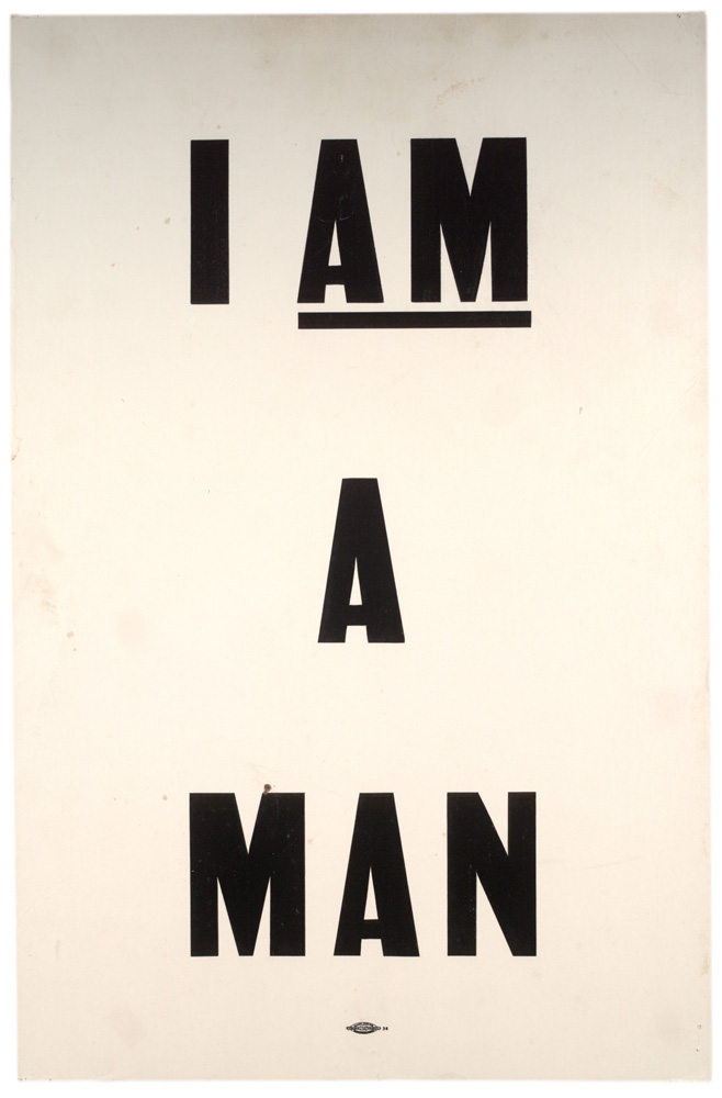 type-based poster saying i am a man in black on a white background